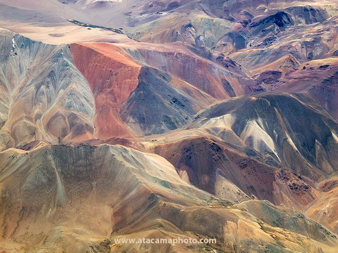 Aerial view of colorful mountains of the Atacama Desert