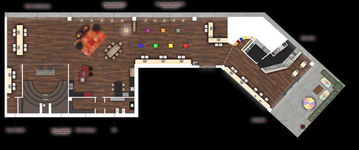 Il progetto prevede la creazione di uno spazio espositivo immobiliare a carattere polifunzionale: area bar di ingresso, area bambini, front office, galleria espositiva immobiliare, galleria espositiva arredamento, sala riunioni, call center, servizi.
