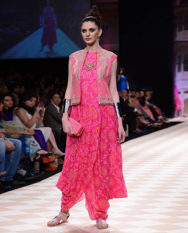 Anita Dongre | Hot Pink Bandhani Dhoti Gown with Bandi Jacket