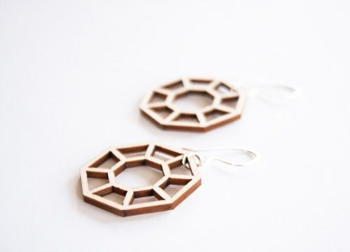 Octagon earrings are designed by Elina Mäntylä, Valona design. The material is Finnish birch plywood.