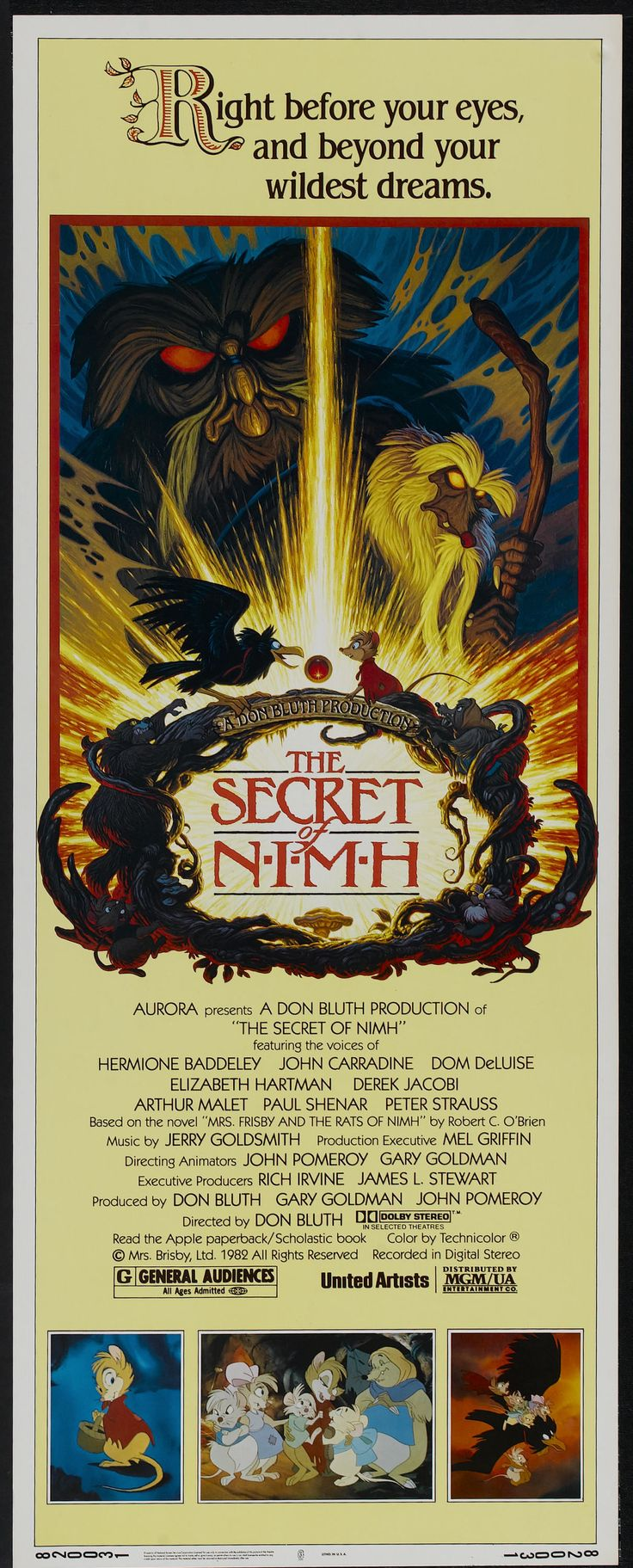 "The Secret of NIMH (MGM/UA, 1982). Insert (14"" X 36""). Animated. Starring the voices of Hermione Baddeley, John Carradine, Dom DeLuise, Elizabeth Hartman, Derek Jacobi, Arthur Malet, Paul Shenar, Peter Strauss. Directed by Don Bluth."