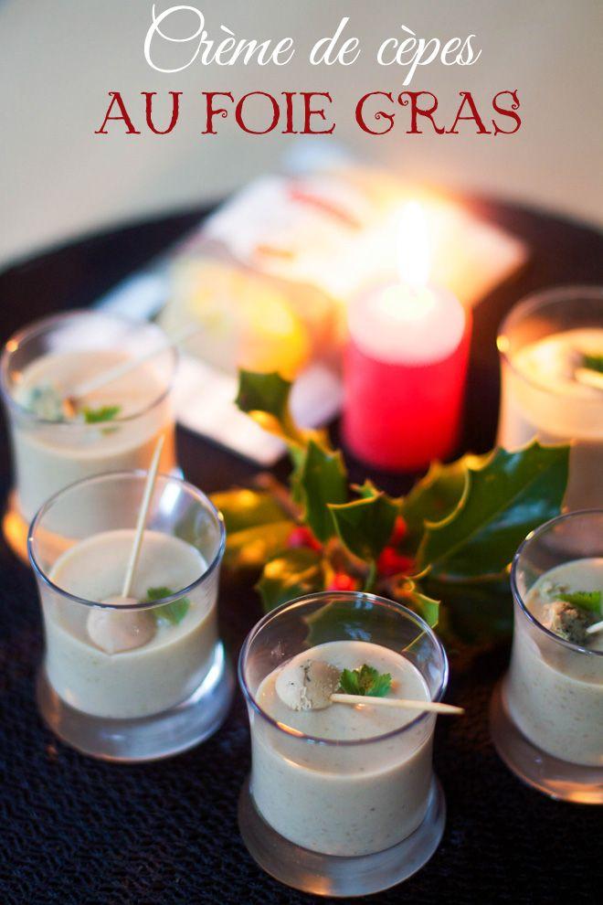 Mise en bouche festive : crème de cèpes aux billes de foie gras