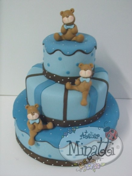 Bolo cenográfico em biscuit.: Bears Cake, Boy Baby Showers, Baby Shower Cakes, Teddy Bears, Ems Biscuits, Bolo Cenográfico, Wedding Cake, Boys Baby Shower, Baby Shower