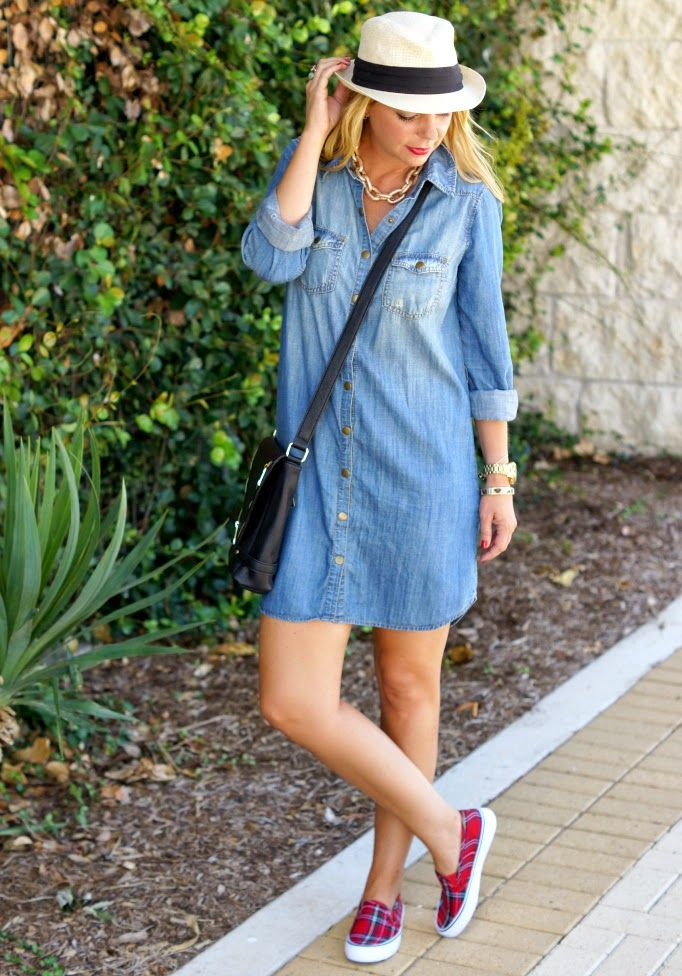 Chambray denim dress, plaid slip on sneakers & fedora. Casual outfit idea.