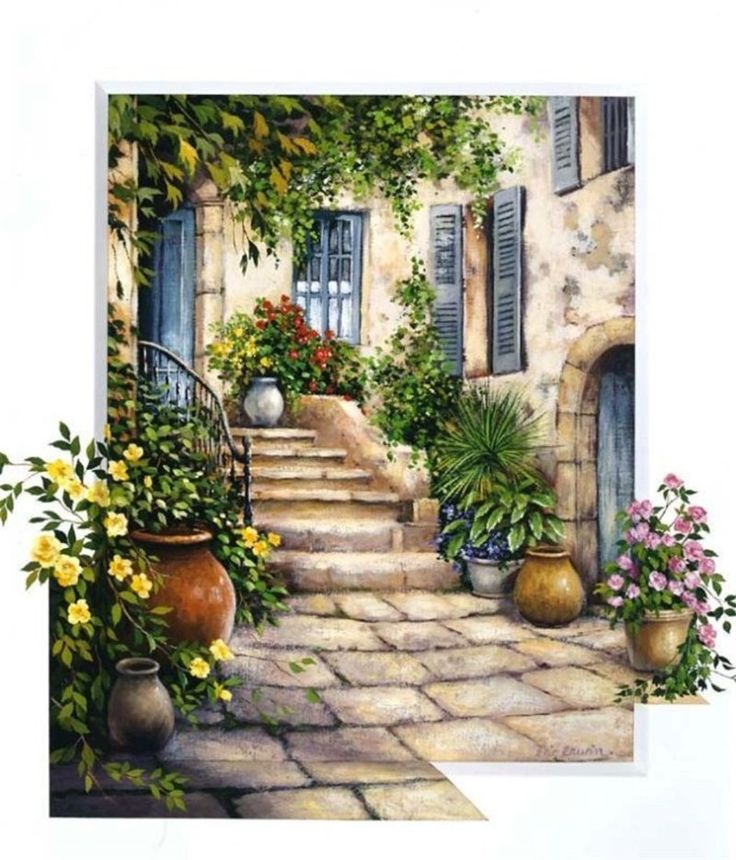 ART~ Paved Steps Leading Between Up To A Little Mediterranean House