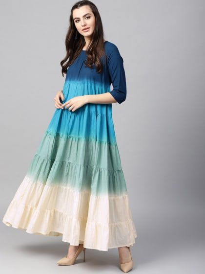 430191099 Blue Printed Tiered Anarkali With Lidder Lace Details in 2019 ...
