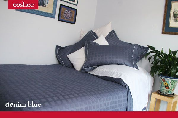 Our Denim Blue 6 piece set has the soft white bamboo/cotton sheet to give you a great nights sleep