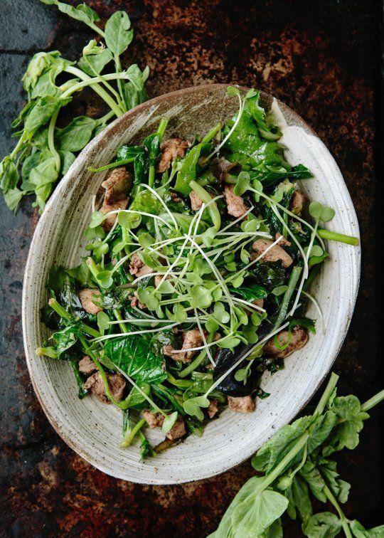 Gotta love fresh springtime recipes. Try Nigel Slater's Five-Spice Chicken & Pea Shoot Salad
