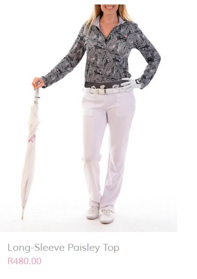 Today's look is perfect for the end of this chilly winter season. Stay warm and stylish in this beautiful long sleeve paisley top (R480) and easy-wear  pants (R500) accessorized with a sporty white belt (R220). http://beautifulmegolf.co.za/  Email your order to info@beautifulmegolf.co.za