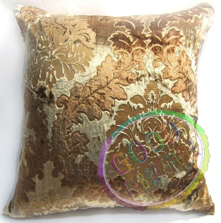 Wa02a Gold and Brown Damask Velvet Style Cushion Cover/Pillow Case *Custom Size* #Handmade