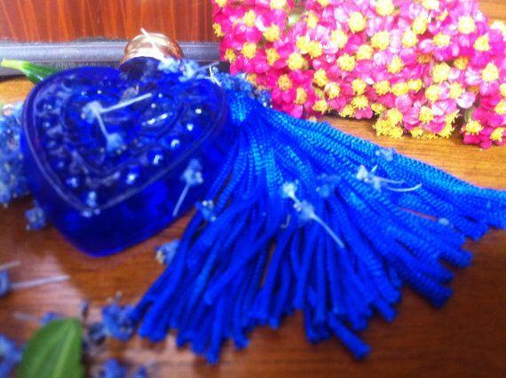 Blue Perfume Bottle Green Tea Perfume  White by PurpleBirdPerfumes