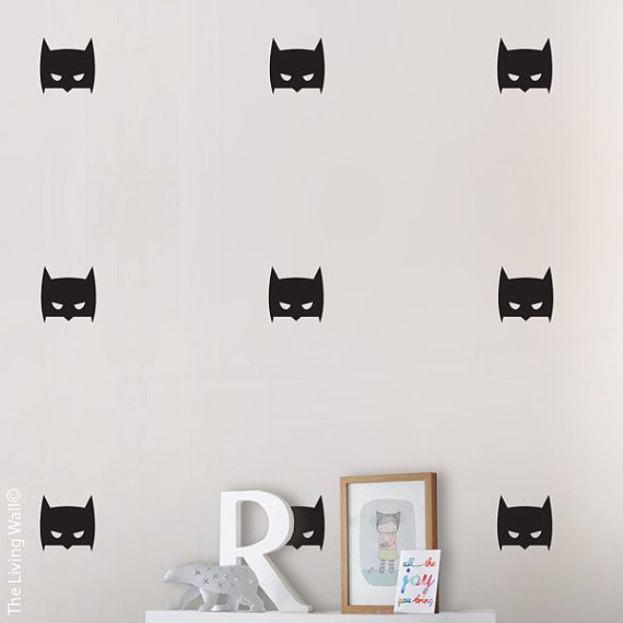 Batman Wall Sticker, Hero wall art for boy room, Super Hero Mask Wall Decal
