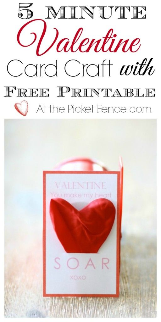 5 Minute Valentine Card Craft With Free Printable From Atthepicketfence At The Picket Valentines