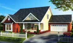 HOUSE PLAN 4848-00347 – A charming Craftsman house plan is highlighted with brickwork, horizontal siding and a lovely front covered porch exterior. The interior layout incorporates four bedrooms, two plus baths and an open floor plan in approximately 2,167 square feet of living space.