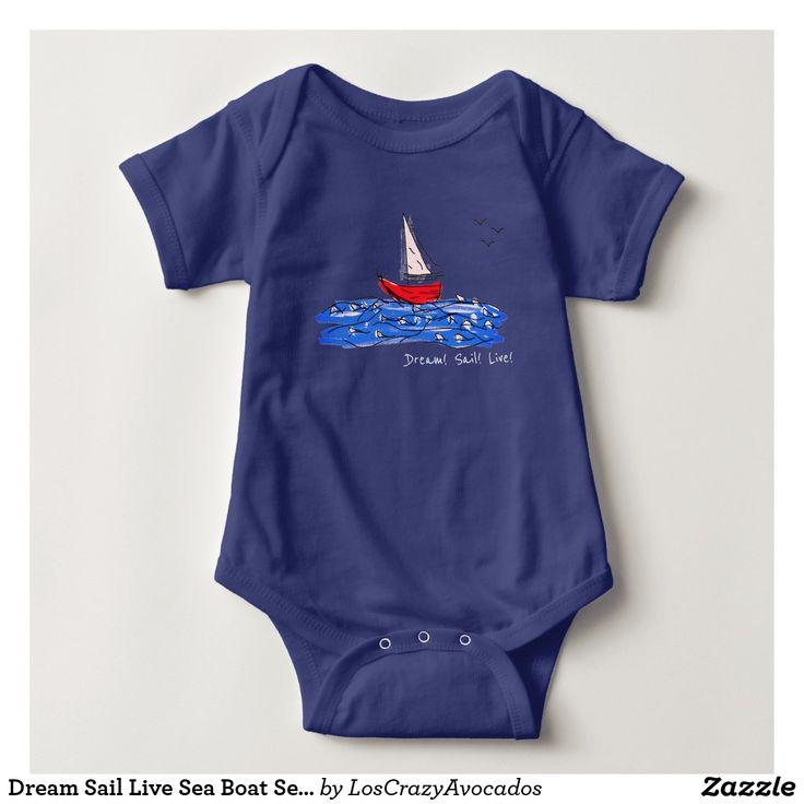 Dream Sail Live Sea Boat Seagulls Baby Bodysuit