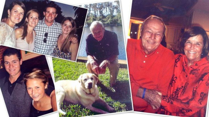 Top left: Arnold Palmer's grandchildren Annie, Emily, Sam and Katie. Bottom left: Palmer's grandchildren Will and Anna. Middle: Palmer's beloved dog, Mulligan. Far right: Palmer and his wife Kit. (Courtesy of Palmer family)