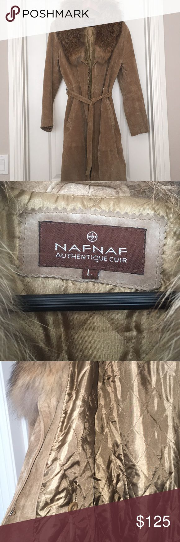 Naf Naf Suade Coat with fur Collar (From France) Naf Naf Paris - Suade Coat with fur collar, purchased from Paris, France, extremely stylish, high quality, excellent condition 🇫🇷 NAF NAF Jackets & Coats