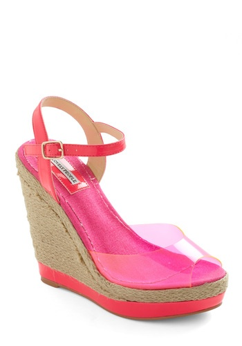 Hello, I love you.: Shoes Wedges, Reference Wedges, Future Reference, Neon Heels, I Love You, Hot Pink Wedges, Clear Plastic, Shoes Sandals, Summer Wedges