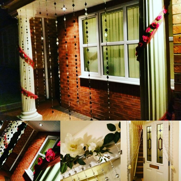 home wedding decoration with pretty sparkly entrance way, perfect for an evening ladies sangeet and mehndi. Very Bollywoodesque!