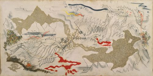 """Andre Masson - Battle of Fishes, 1927 (or 1926) - Hunter and Fineberg claim this exemplifies surrealist """"psychic automatism"""""""