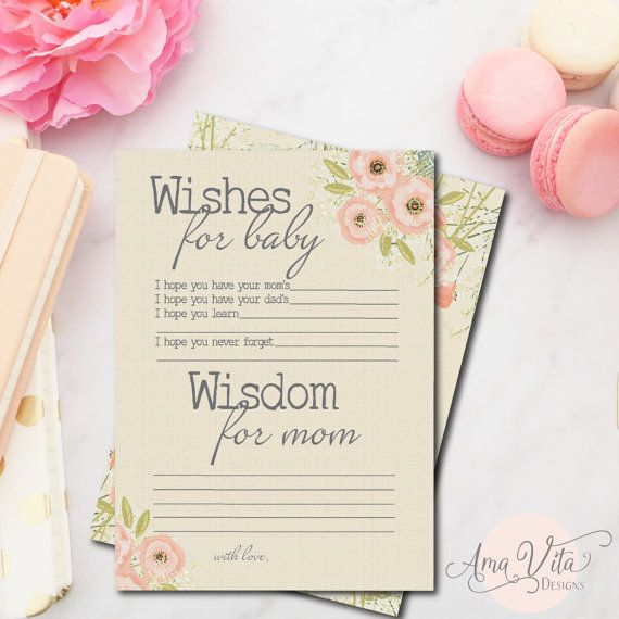 Wishes for Baby Shower Printable Instant Download Rustic Burlap Floral Baby Shower Game Baby Shower Decoration Baby Advice Card for Mom