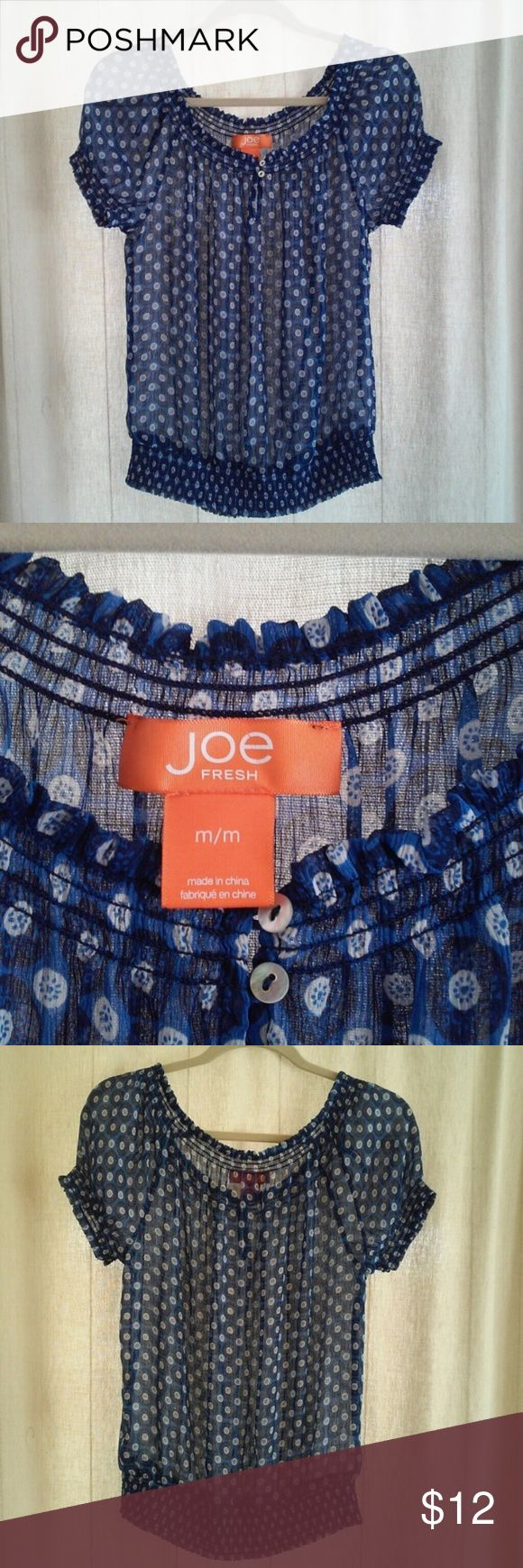 Sheer blouse by Joe Fresh size M nwot Very nice blue sheer blouse with elastic at waist, neckline, and sleeves. Joe Fresh, size medium, new without tags.  if concerned about size,  please ask for measurements before purchasing....I want you to LOVE your new blouse! Joe Fresh Tops Blouses