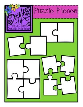 Free Clipart! Puzzle Piece Templates! Includes black and white templates for a 2-piece puzzle and a 4-piece puzzle. Personal and commercial use allowed. From Creative Clips by Krista Wallden :) Enjoy!