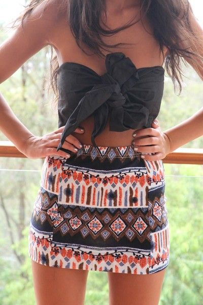 Fashion, Summer Looks, Summer Outfit, Style, Clothing, Dresses, Bandeau Tops, Tribal Skirts, Tribal Prints