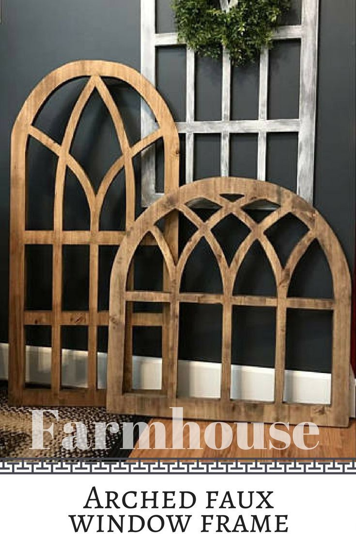 These arched wooden pieces have the look of an old window ...