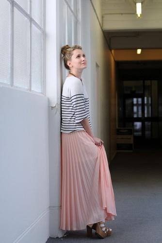 long pleated skirt + stripes