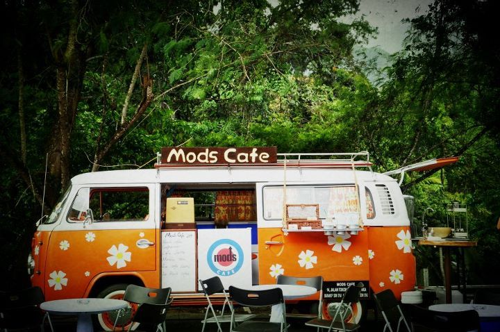 VW Camper van. Mods Cafe combi in Melaka, Malaysia. Cute, funky fit out.
