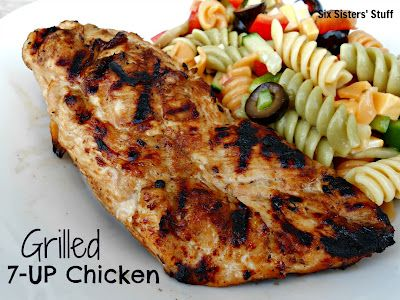 Grilled 7-UP Chicken: 7Up Chicken, Grilled 7 Up, 4 Ingredients, Chicken Marinades, Grilled Recipes, Grilled Chicken Recipes, Six Sisters Stuff, Chicken Breast, 7 Up Chicken