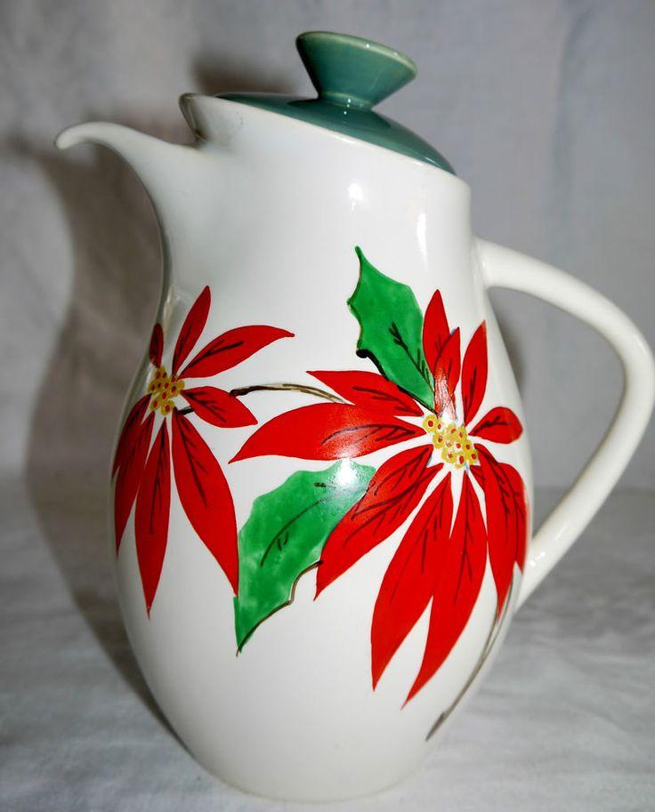 AUSTRALIAN DIANA POTTERY POINSETTIA COFFEE POT