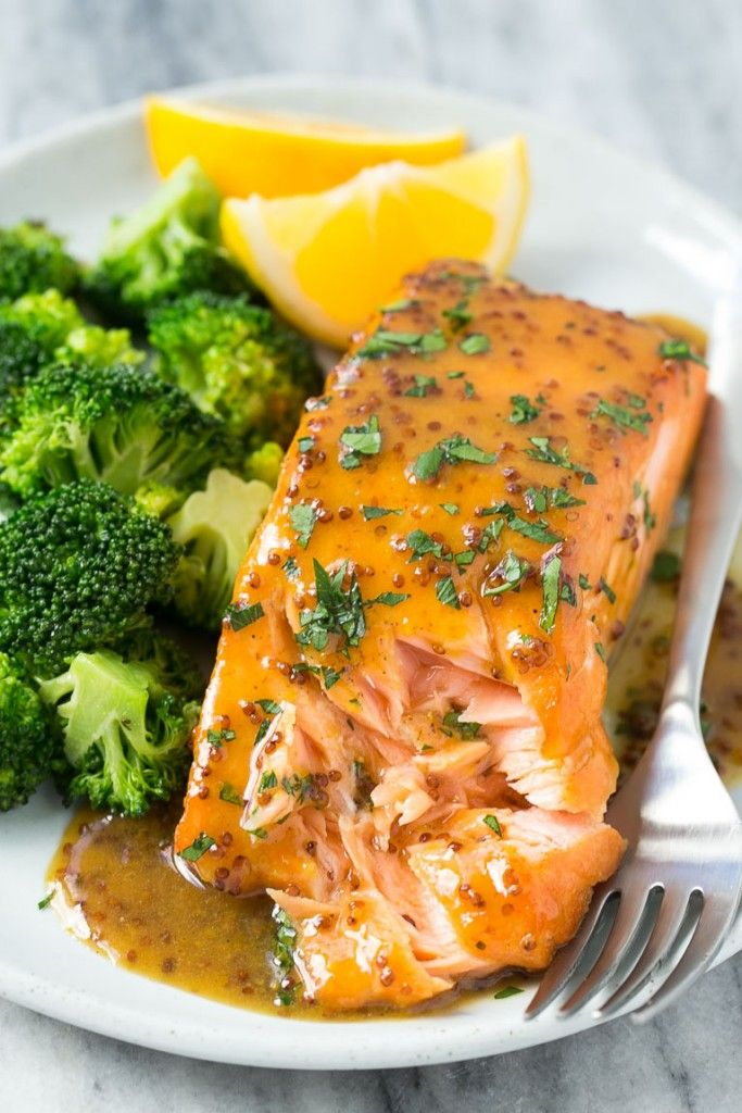 This recipe for honey mustard salmon is seared salmon fillets coated in a sweet and tangy honey mustard sauce. Add broccoli to make a one pot meal!