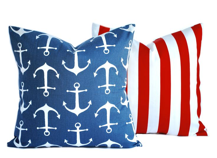 2 Nautical pillow covers, 1 anchor and 1 striped, cushion, decorative throw pillow, Red pillow, Navy Pillow, accent pillow, pillow case by ThatDutchGirlHome on Etsy
