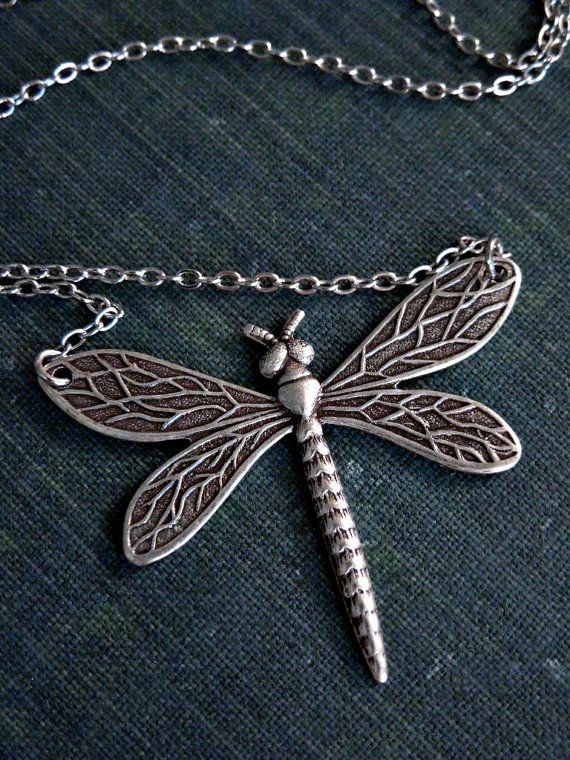 Dragonfly Necklace Ox Silver Insect Wings Fly by Saout on Etsy