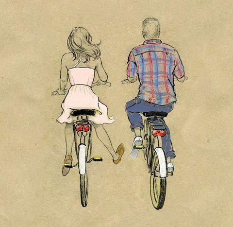 2 bikes / couple - illustration. Hee, cute. I would like a biking buddy boyfriend.