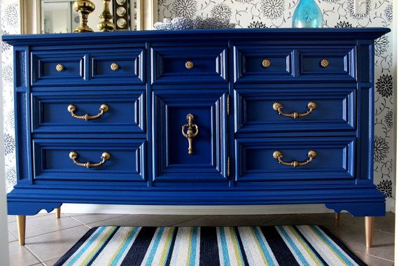 Vintage Navy Blue Dresser Buffet Media Console Awesome