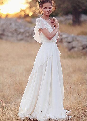 Glamorous Chiffon V-neck Neckline A-line Wedding Dresses With Handmade Flowers