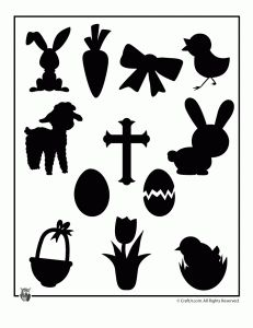 Printable Easter Shapes, let each grandchild color on and then use for there Easter pict. and scrapbook it onto that page.