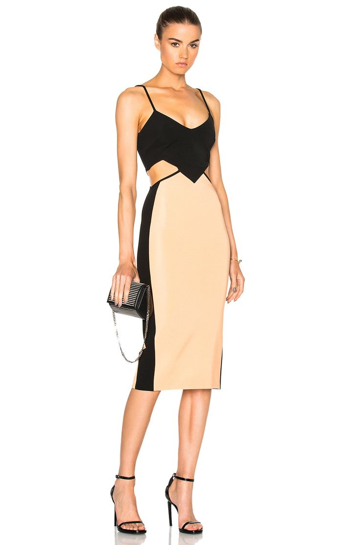 David Koma Contrast & Cut Out Dress in Black & Peach | FWRD