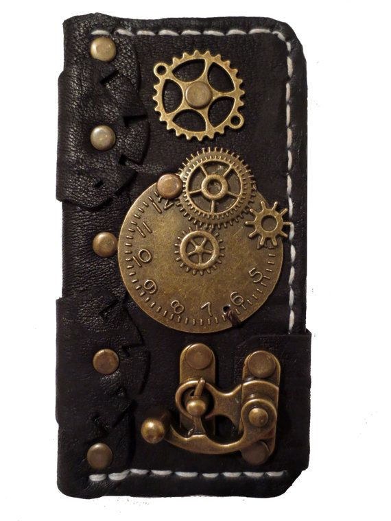 Handmade hand stitched victorian steampunk clock gears vintage black leather iPhone 5 mobile case book style on Etsy, $99.99