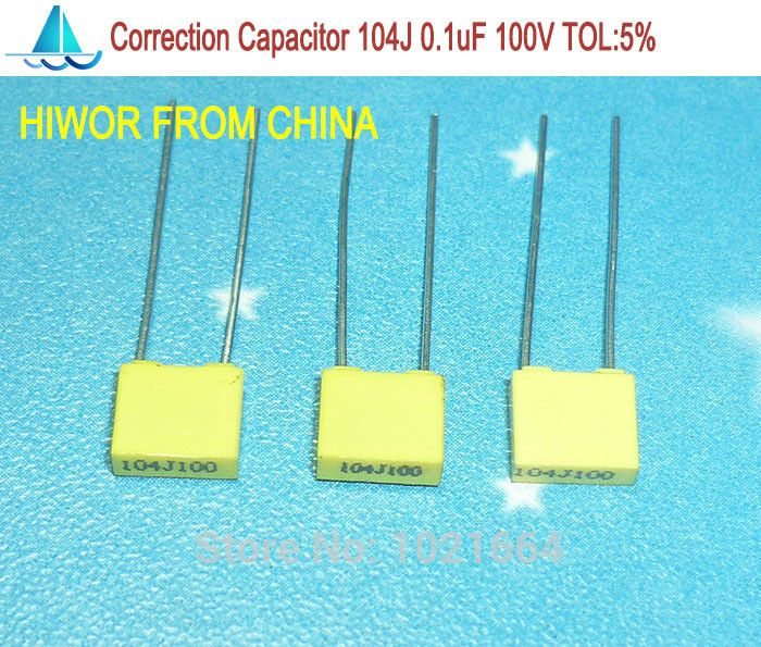 (100pcs/lot) correction Capacitor 0.1uf 104J 100V TOL:5% Metallized polyester film capacitor 100nF