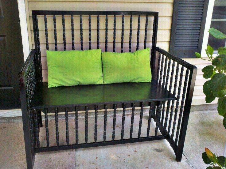 re-purposed baby beds turned into a bench...by ThenAgain...find them on facebook