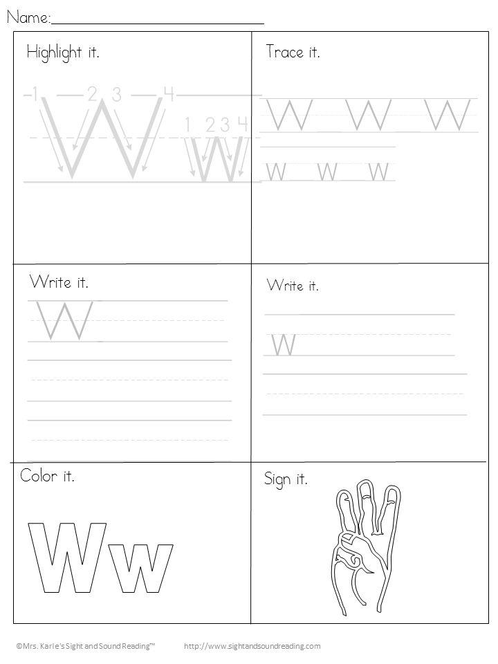 Beginning Letter Sound Worksheets The Letter W Letter W