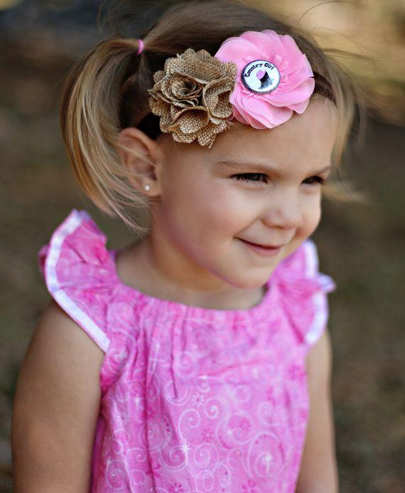 Country Girl Headband Cowgirl Headband Pink by KennasKlippiesBows, $8.50