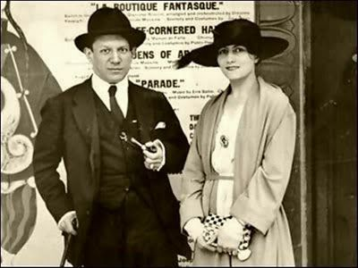 """In 1917, Picasso met Russian ballerina Olga Khokhlova (1891-1955) while designing the ballet """"Parade"""" in Rome, to be performed by the Ballet Russe. Picasso & Olga Khokhlova married in the Russian Orthodox church in Paris in 1918."""