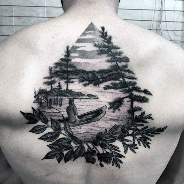 40 Canoe Tattoo Designs For Men Kayak Ink Ideas Tattoos Manner Landschaftstattoo See Tattoo