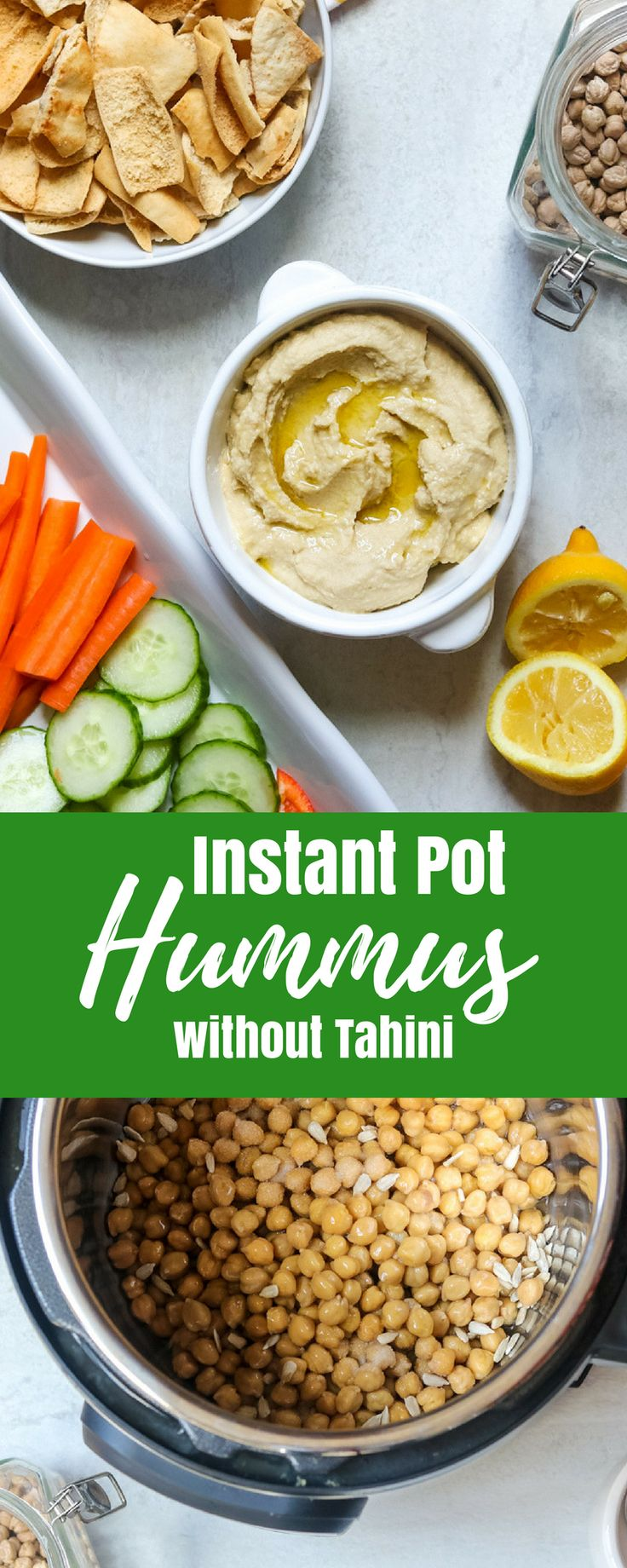 Instant Pot Hummus--This easy recipe for pressure cooker hummus is going to BLOW your mind! Made with dried chick-peas and wait for it-----sunflower seeds, this hummus recipe without tahini is going to become your new FAVORITE hummus recipe. You won't believe how easy restaurant quality hummus is to make at home.#amindfullmom #hummus #instantpot #pressurecooker via @amindfullmom