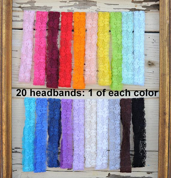 "Lace Headbands - Stretch Elastic Lace Baby Headbands - Set of 20 - 1"" Lace Headbands - Elastic Lace Baby Headbands - 1 of Each Color"